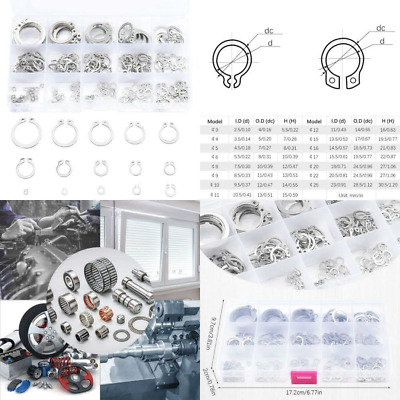 225Pcs 15-Size E-Clip Retaining Snap Opening Ring Circlip Kit 304 Stainless Stee