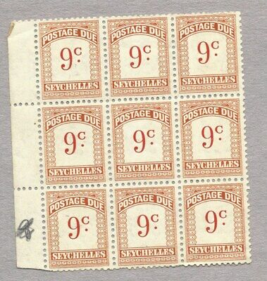 SEYCHELLES - 1951 9c POSTAGE DUE, BLOCK of 9 MNH
