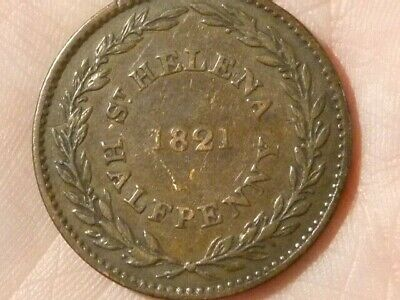 1821 St Helena Halfpenny Coin EAST INDIA COMPANY British #P94