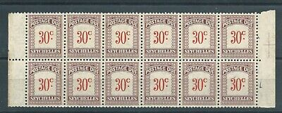 SEYCHELLES - 1951 30c POSTAGE DUE,  BLOCK of 12 MNH