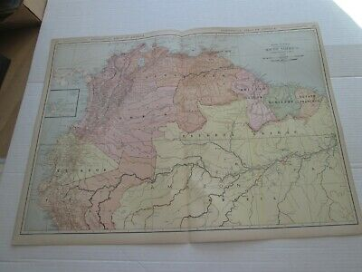 ONE (1) 1923 RAND McNALLY STANDARD MAP SOUTH AMERICA, NW PART; FANTASTIC DETAIL