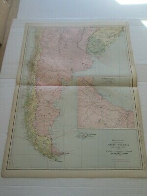 ONE (1) 1923 RAND McNALLY STANDARD MAP SOUTH AMERICA, SOUTHERN PART GREAT DETAIL