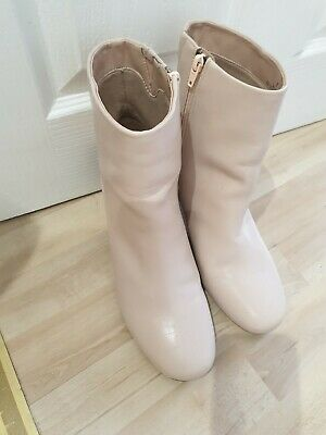 Marks & Spencers Insolia Light Blush Pink Nude Ankle Boots With Round Heel