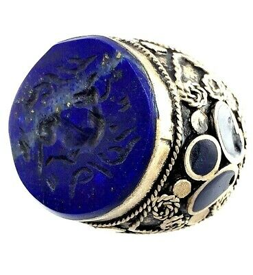 afghanistan ring ancient style silver alpacca antique stone intaglio seal signet