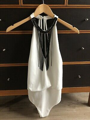Lipsy Size 12 White Bodysuit Brand New With Tags