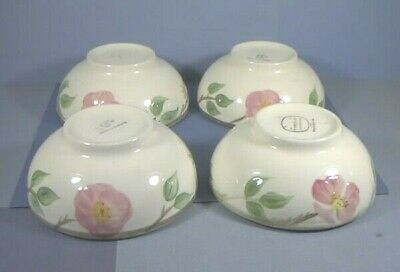 "Four 5.5"" Footed Bowls, Desert Rose Pattern, Franciscan Ware China, California"
