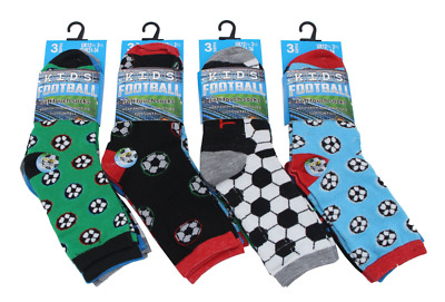 Boys 3/6 Pack Football Design Trainer Liner Socks assorted colours Cotton Rich