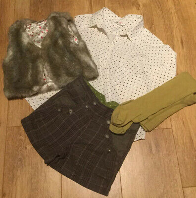 🌳Girls Autumn/Winter H&M/Next Outfit Bundle Shorts Shirt Waistcoat Age 7 Yrs🌳
