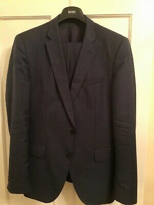 Hugo Boss Men's Navy Check Blue 2 Pce Slim Fit Wool Suit Size 42R