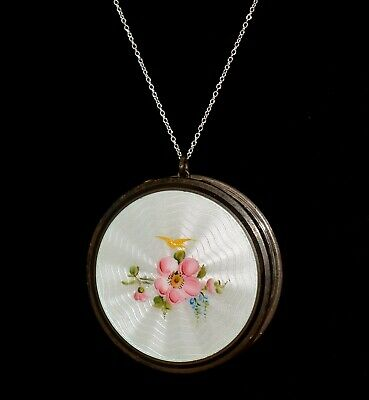STUNNING Antique *STERLING ENAMEL GUILLOCHE* Floral COMPACT Pendant NECKLACE