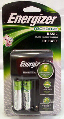 Energizer Recharge Charger With 2 AA NiMH Rechargeable Battery Auto Shut Off
