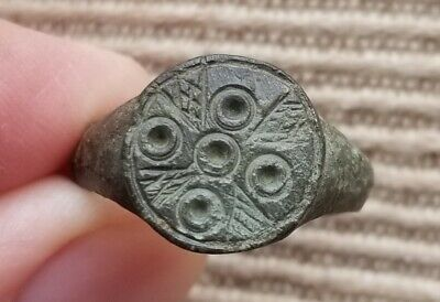 Ancient Roman Empire Evil Eye Five Wounds of Christ Protective Motif Ring Sz 8.5