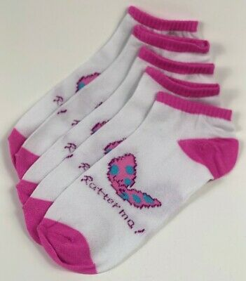 Girls Women 10 Pairs Ankle Socks Pink white with Butterfly's