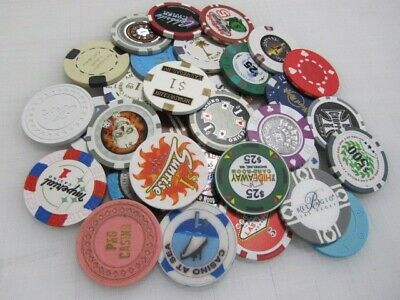 33 Casino Gaming Poker Chip Lot Las Vegas $1 New & Used Chipco Paulson Clay