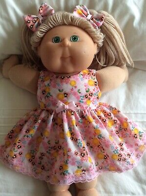"""DOLLS CLOTHES - DRESS & BOWS to fit 16"""" CABBAGE PATCH ~ Pink : Flowers"""