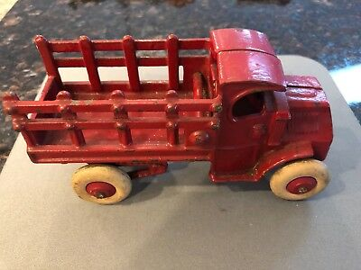 Antique Hubley Cast Iron Mack  Truck Toy Rare With White Rubber Tires