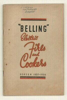 BELLING ELECTRIC FIRES & COOKERS 1937-8. Illustrated Trade CATALOGUE. Enfield.