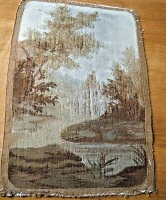1860 Antique French Aubusson Tapestry picture castell surrounded with nature