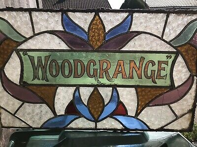 """Antique Wood Grange stained glass window sign Name. """"Art Nouveau"""""""