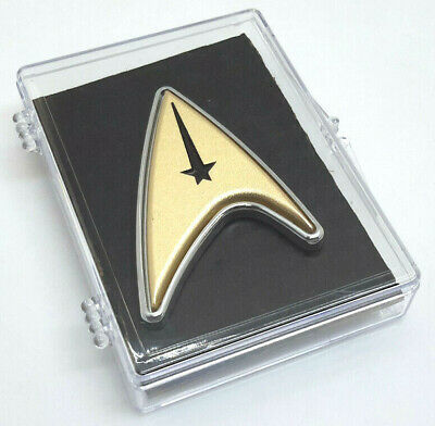 NEW Star Trek Discovery Gold Enterprise Captain Pike Metal Badge/Pin Prop w Case