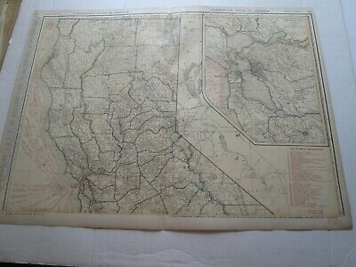 ONE (1) 1923 RAND McNALLY; STANDARD & RAILROAD MAP of CALIFORNIA, NORTHERN
