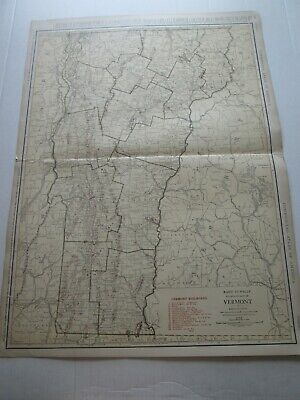 ONE (1) 1923 RAND McNALLY; STANDARD & RAILROAD MAP of VERMONT, FANTASTIC DETAIL