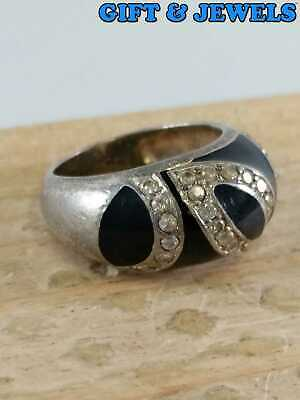 SU SIGNED STERLING SILVER 925 RING SZ 7 WHITE STONE BLACK ONYX 7.1 G RARE #at155