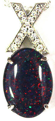 Aussie Natural Black Triplet Opal Pendant Solid Sterling Silver Cubic Zirconia
