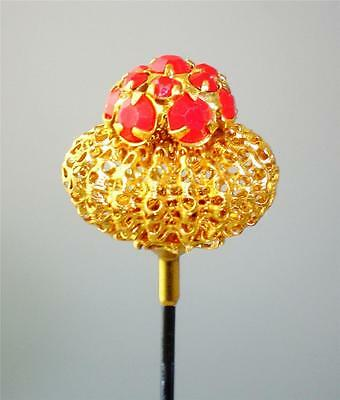 Blood Red Rhinestone Hatpin In Domed Setting
