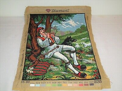 Vintage Diamant Needlepoint Canvas Made In Greece Medieval Renaissance Finished