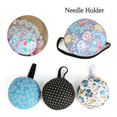 Supplies Tool Ball-Shaped Sewing Pin Cushion Floral Wrist Strap Needle Holder