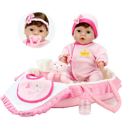 18'' Reborn Baby Gentle Touch Weighted Body Lifelike Girl Doll with Carrier Bed