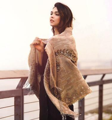 Women 100% Wool High-end Handwork beading Sequins cape Scarf Chic