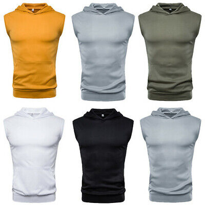 Mens Muscle Hoodie Tank Top Bodybuilding Gym Workout Sleeveless Vest T-shirt US