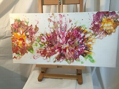 Acrylic Flow Blown flowers painting  original x 30 cx 60 cm created January 201m