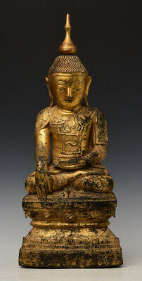17th Century, Shan, Antique Burmese Nong Wooden Seated Buddha