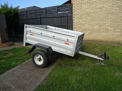 Small Galvanized Tilt Tipper Trailer 3ft x 4ft, Garden, Golf Buggy, Scooter. VGC