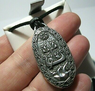 VIKING PROTECTION BIND RUNE PEWTER PENDANT NECKLACE ~ FROM ST JUSTIN ~ FREE P/&P