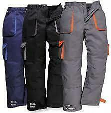 Portwest Texo Lined Trousers Pants Contrast Workwear Kingsmill Pockets