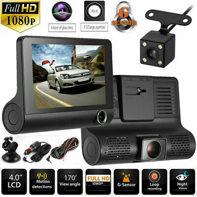 4'' HD 1080P Dual Lens Car DVR Front and Rear Camera Video Dash Cam Recorder UK