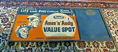 "Rexall - Amos 'n' Andy Value Spot Heavy Tin Advertising Sign - 34.5"" x 15"""