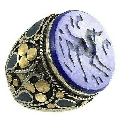 afghanistan ring ancient style silver alpacca antique horse intaglio seal signet