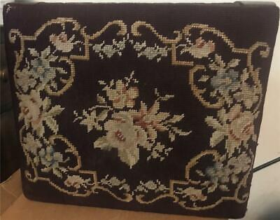 """Vintage Maroon Brocade Cloth and Wood 11"""" Tall Footstool - 15"""" by 13"""""""