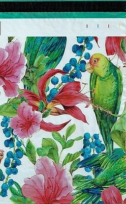 200 10x13 Pink Tropical Flowers Parrot Designer Poly Mailers Envelopes Bags