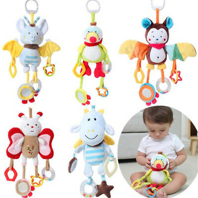Cute Animal Plush Rattles Stroller Hanging Bell Mobiles Infant Baby Soft Crib LI