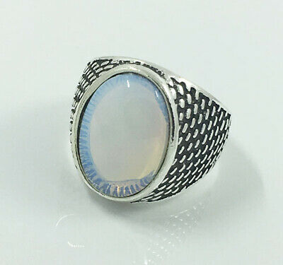 HOT Men's Woman 316L Stainless Steel Vogue Design Moonstone Ring Size 8