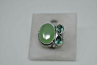 Green Chalcedony Gemstone .925 Sterling Silver Jewelry Ring Size 7.75