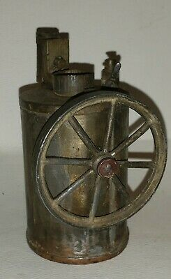 Early tin, copper  bottom Small Steam Engine, Trash Can look, Hand soldered