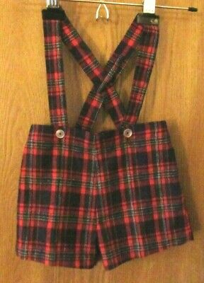 VINTAGE PLEATED LONG SHORTS Childs Size 6 by Rici Red Plaid Made in the USA