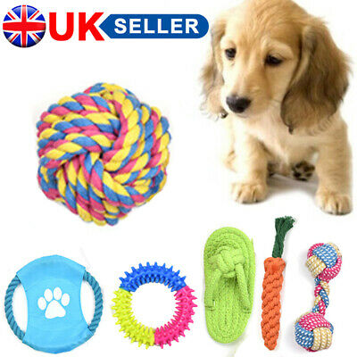 10X Dog Rope Chew Toys Kit Tough Strong Knot Ball Pet Puppy Cotton Teething Toy